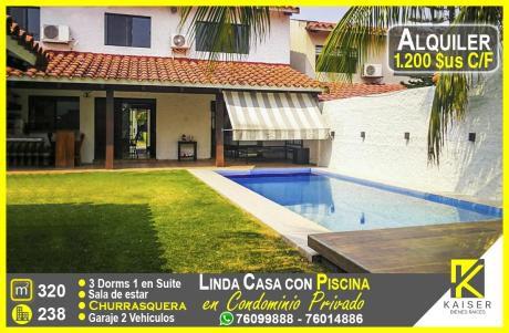 Linda Casa Con Piscina En Condominio