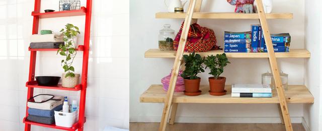 ¿Cómo crear una estantería de una escalera?