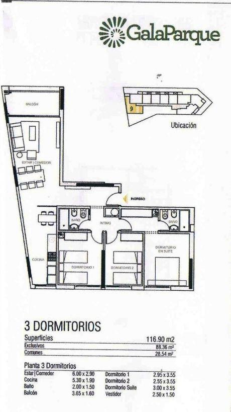 Apartamento 3 Dormitorios, 2 Baños, Gala Parque