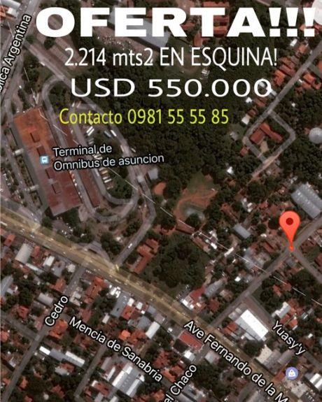 Vendo Zona Terminal De Omnibus 2.214 Mts2 En Esquina, Super Oferta!