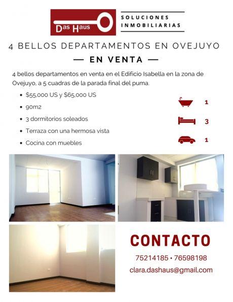 4 Bellos Departamentos En La Zona De Ovejuyo