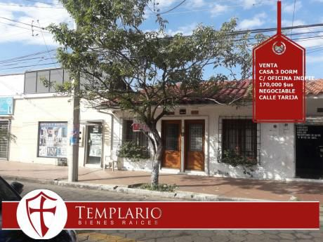 Venta.- 170,000 $us Casa 3 Dorm Calle Tarija (1er Anillo)