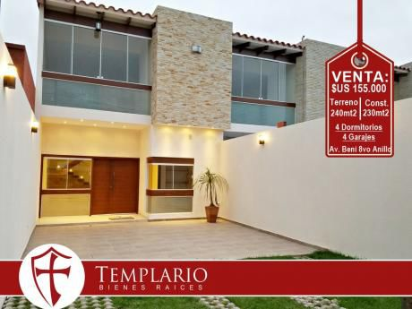 Av. Beni 8vo Anillo -hermosa Casa A Estrenar - Venta: $us 155.000