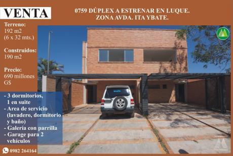 0759 Duplex A Estrenar En Luque, Zona Avda. Ita Ybate