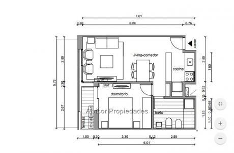 Apartamento Venta 1 Dormitorio Tres Cruces