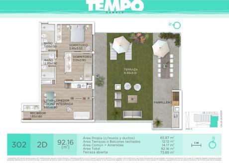 Tempo Rambla, Dos Dormitorios, Terraza Con Parrillero.