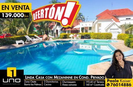 Linda Casa En Condominio Privado Barrio Las Palmas