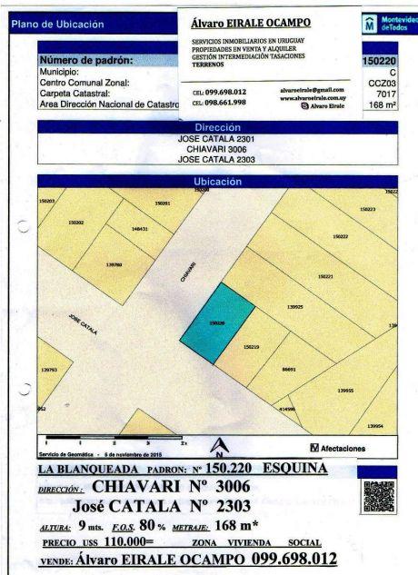 U124217 110.000=terrreno Esquina La Blanqueada Zona V.i.s.