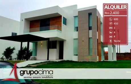 Amplia Y Lujosa Casa En Alquiler En El Urubo !!