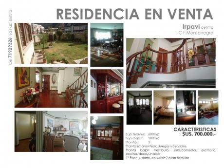 Vendo En Irpavi Centro Hermosa Residencia 4 Suites