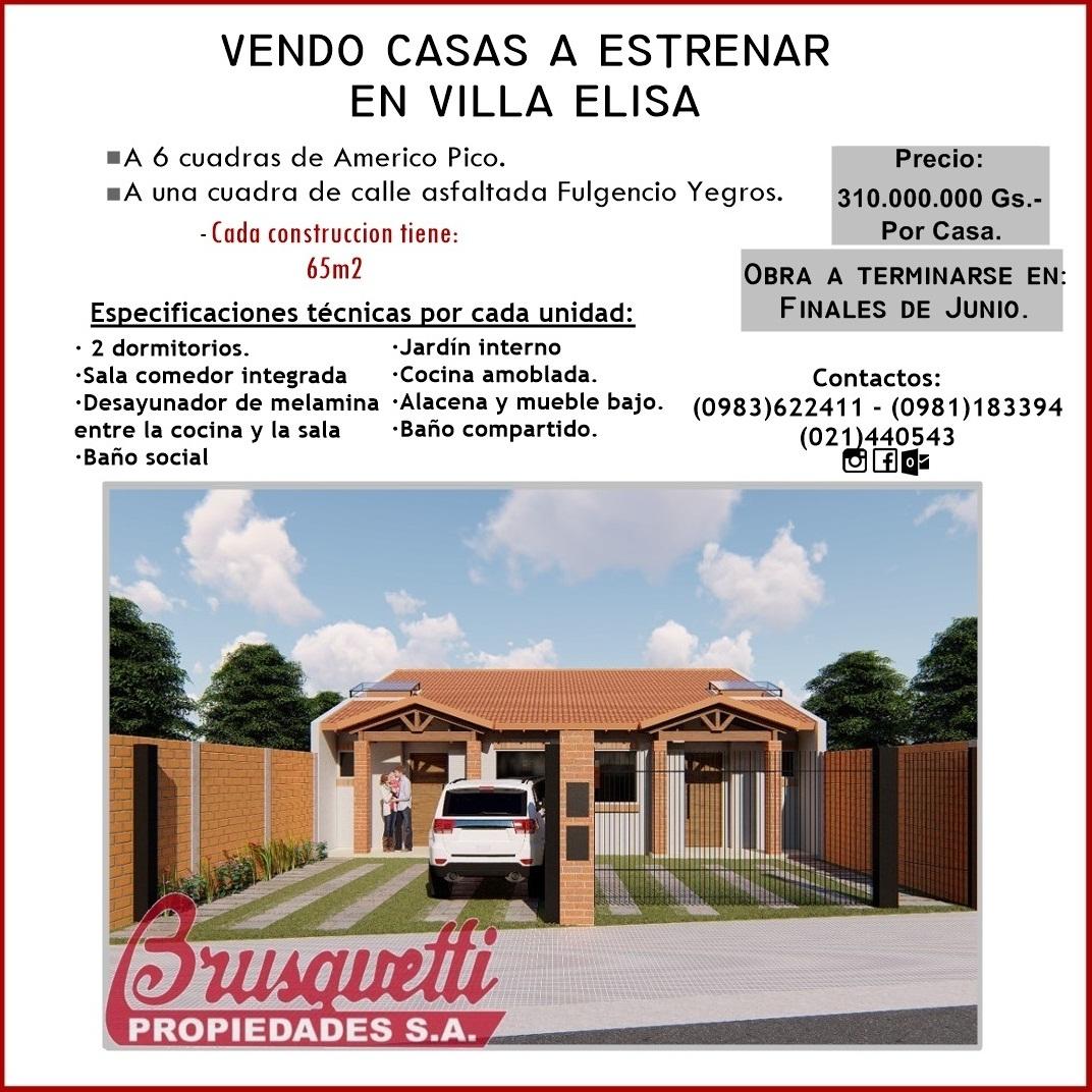 Vendo Casas A Estrenar En Villa Elisa