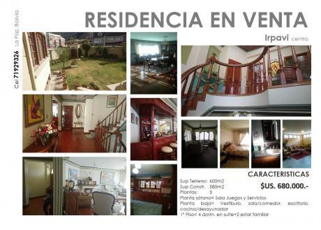 Residencia En Venta En Irpavi Centro
