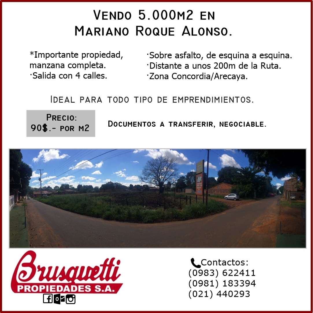 Vendo 5.000m2 En Mariano Roque Alonso