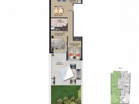Cordón Sur - Dic/017 - 117 M2 - 2 Dorm, Patio /balcón/divino