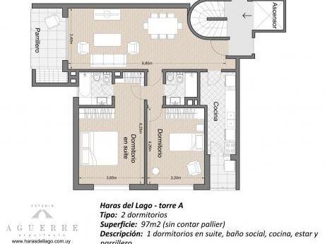 Apartamento De 2 Dormitorios En Haras Del Lago