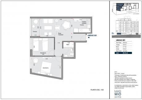 Apartamento, 2 Dormitorios, Terraza, Estrenar, Garaje
