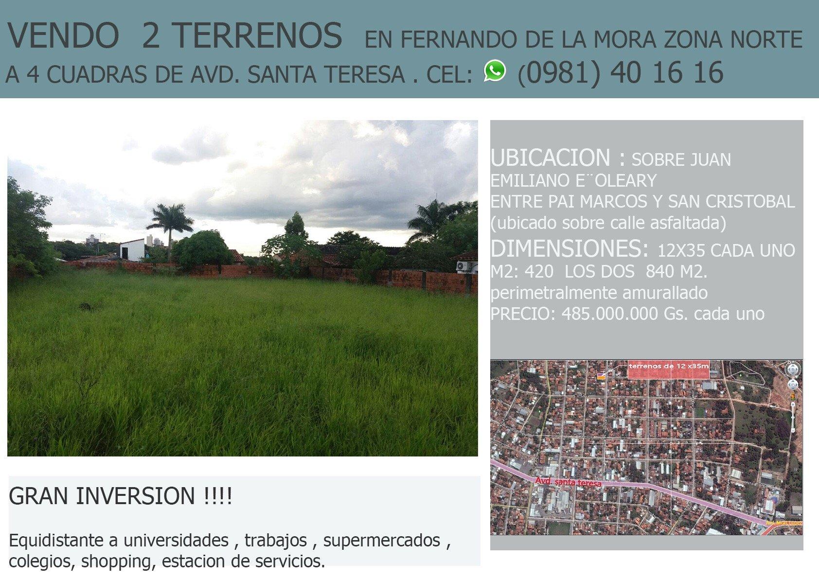 Terrenos En Fernando De La Mora Zona Norte A 4 Cuadras De Avda. Santa Teresa