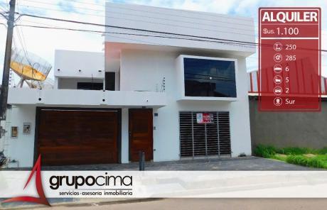 Amplia Casa En Alquiler En Zona Comercial A 1.100 $us!!!