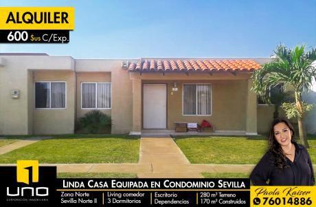 Linda Casa Equipada En Alquiler, Condominio Sevilla Norte 2