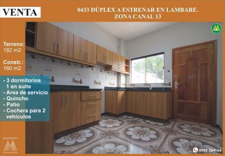 0433 Duplex A Estrenar En Lambare, Zona Canal 13