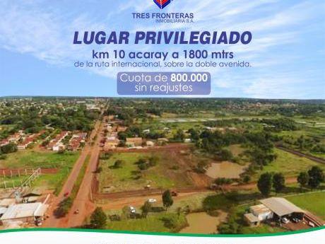Lotes Recuperados Km 10 Acaray, Cuotas Desde 780.000