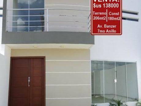 Av. Banzer 7mo Anillo - Hermosa Casa Estrenar - Venta: $us 138.000