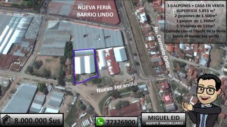 En Venta 3 Galpones + Vivienda Al Lado De La Feria Sobre Avenida