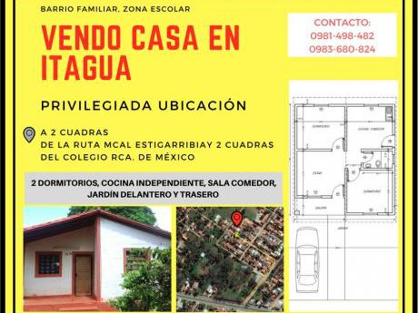 Vendo Casa En Itaguá A 2 Cuadras De La Ruta Mcal Estigarribia