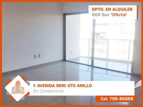 Departamento En Alquiler, Zona Norte, Av. Beni Y 4to Anillo Condominio Gardenia