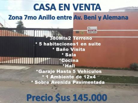 Casa En Venta 7mo Anillo Entre Beni Y Alemana