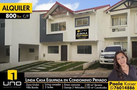 Linda Casa Equipada En Condominio Zona Urubo
