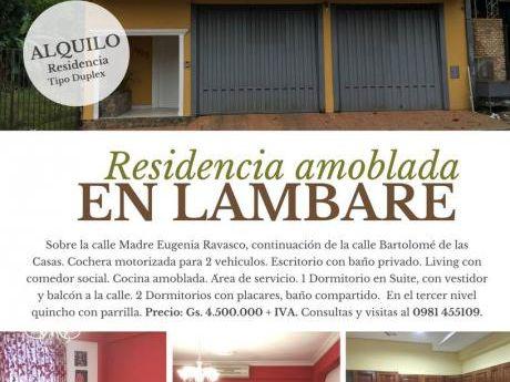 Allquilo Residencia Amoblada En Lambare