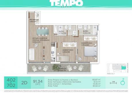 Tempo Rambla, Dos Dormitorios, Terraza