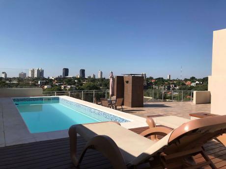 Alquilo Fino Penthouse De 2 Pisos Amoblado Y Equipado En Villa Morra