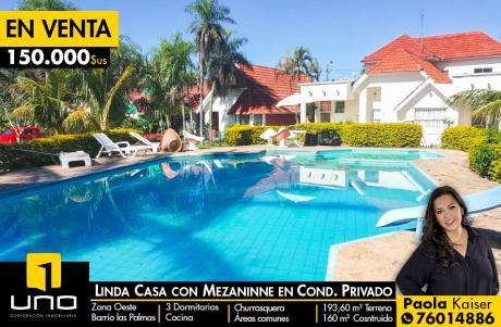 Linda Casa En Condominio Barrio Las Palmas