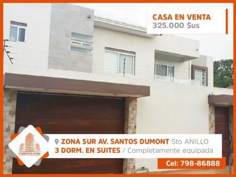 Hermosa Casa En Venta  En Zona Sur. Av. Santos Dumont 5to. Anillo