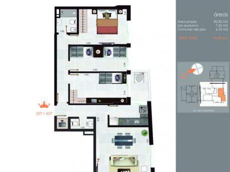 Increíble Penthouse! 2 Dorm, Terrazas, Excelente Ubicación!