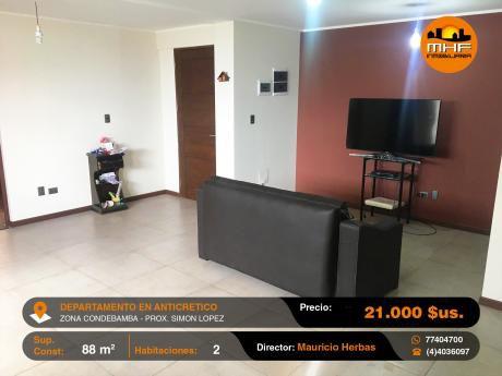 Depto Nuevo Anticretico 2 Dormitorios Prox. Simón Lopez Condebamba