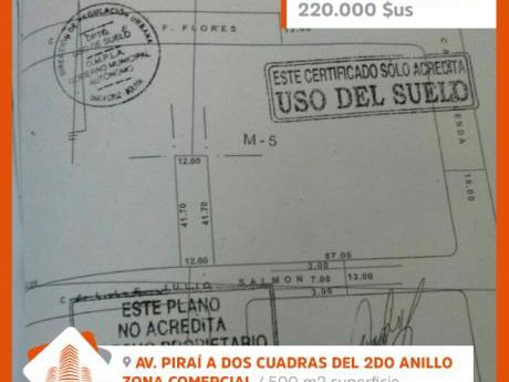 Terreno En Venta A Media Cuadra Del 2do Anillo Y Piraí.