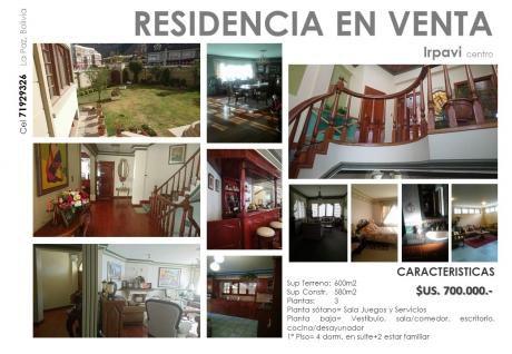 Vendo Hermosa Residencia 4 Suites En Irpavi Centro