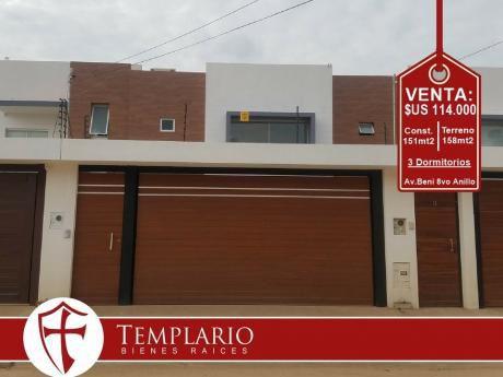 Av. Beni 8vo Anillo - Casa A Estrenar - Venta: $us 114.000