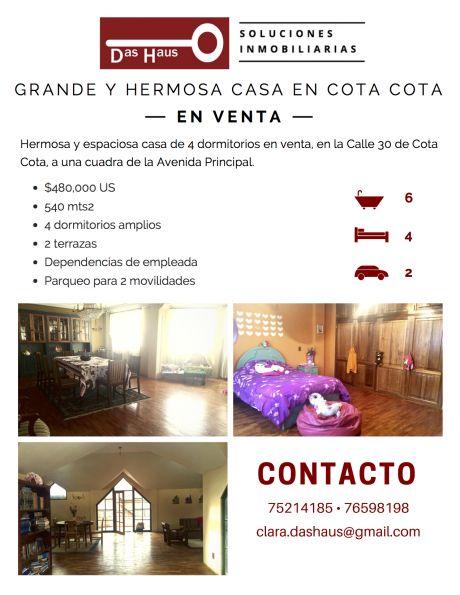 Grande Y Hermosa Casa En Cota Cota