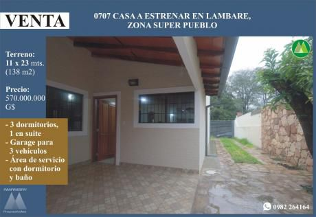 0707 Casa En Lambare, Zona Super Pueblo