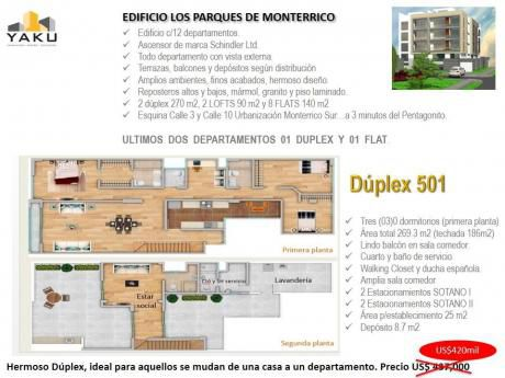 Duplex, 269 M2, Frente A Parque, 3 Dorm., 4 Estac Us$420,000