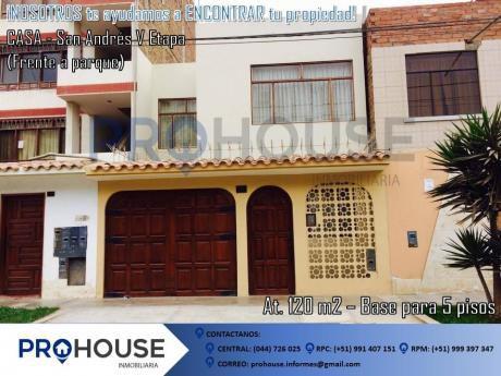 Venta: Excelente Casa Frente A Parque En Urb. San Andres V - Etapa (120 M2)
