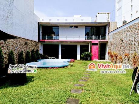 Hermosa Casa En Venta De 02 Pisos Con Piscina En Urb. El Golf