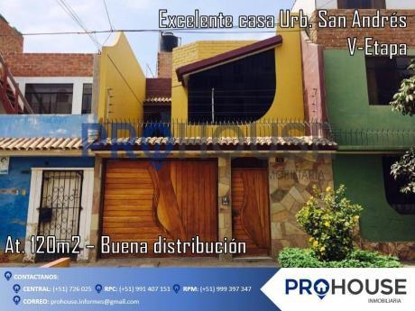 Venta: Excelente Casa Urb. San Andres V - Etapa (at. 120 M2)