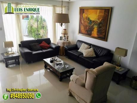 Hermosa Y Acogedora Casa 03pisos, 220 M2, 04hab En Urb. Golf. $299,000