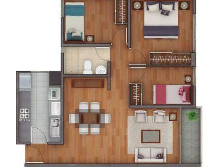 Departamento En Condominio, 62 M2. 3 Dorm. Zonas Comunes. Estacionamiento
