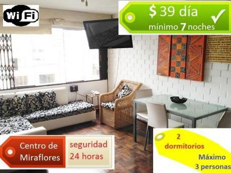 Desde $39 Departamento Amoblado Centro De Miraflores, Privacidad Total